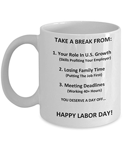 Original Holiday Ceramic Gifts - Thank You - Men and Women You Deserve A Day Off - Authentic White 11 Oz Happy Labor Day Gift Card Coffee - Tea (Halter Brush Train)