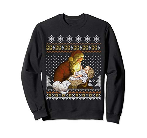 Santa Claus And Baby Jesus In The Manger Xmas Sweatshirt