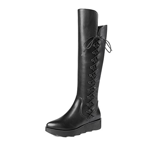 MINIVOG Womens Side Lace-up Leather Vamp Knee-high Platform Boots Black OURsH
