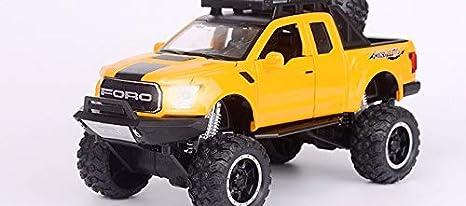 AmaMary Voiture /à Friction Enfant 1:32 Ford F150 Raptor Pick-up Diecast avec Musique Clignotant Tirez Voiture Jouets Cadeaux pour Enfants Rouge