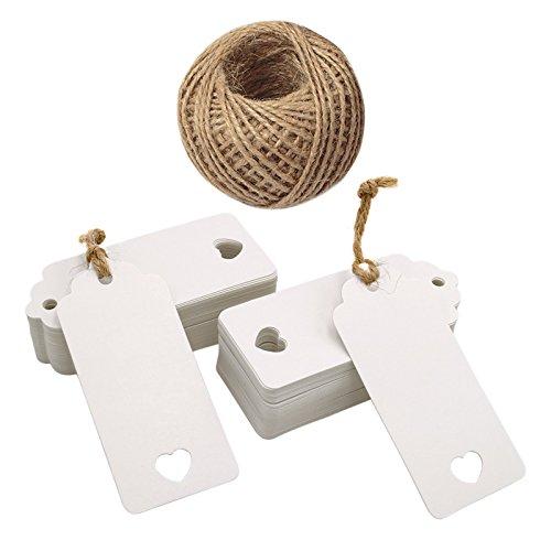 100pezzi carta kraft con etichette regalo matrimonio favore Tag a cuore 4cm x 9cm 100piedi Spago di iuta bianco JIJA 4336879538