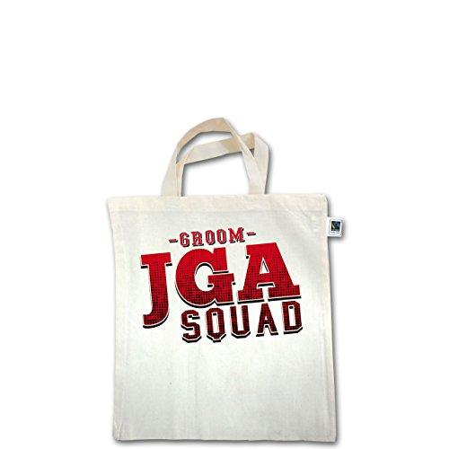 JGA Junggesellenabschied - JGA Squad Groom - Unisize - Natural - XT500 - Fairtrade Henkeltasche / Jutebeutel mit kurzen Henkeln aus Bio-Baumwolle