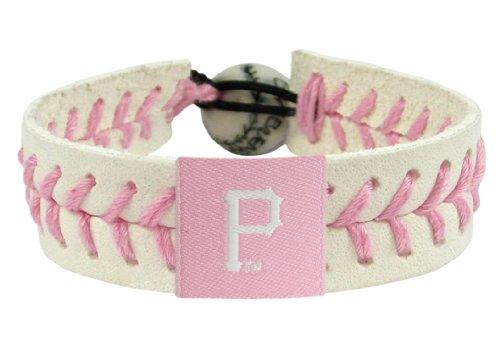 Pittsburgh Pirates Leather Baseball - GameWear Pittsburgh Pirates MLB Baseball Leather Pink Bracelet