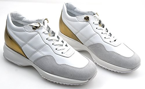 HOGAN INTERACTIVE WOMAN SNEAKER SHOES WHITE/GOLD CODE HXW00N0J100HQW0ZD3 38,5 BIANCO/ORO - WHITE/GOLD