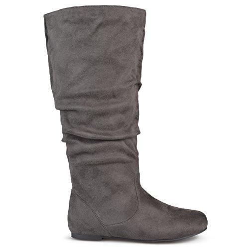 Brinley Co Womens Joey Riding Boot Regular & Wide Calf Grey Suede O2vNJGpi