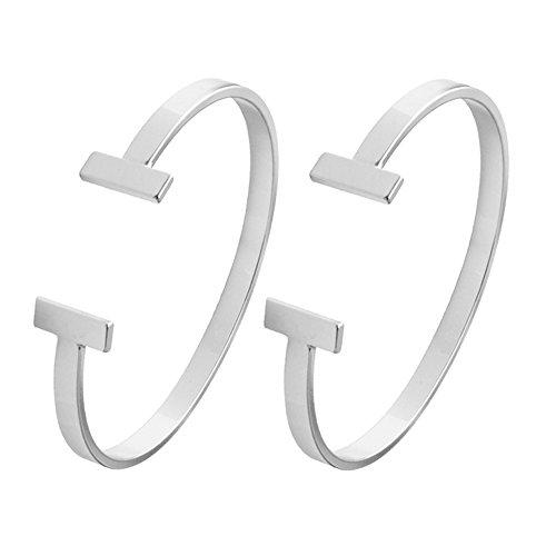 SENFAI Simple Double T Cuff Bracelet/Jewelry Set for Women (2 pcs Set Thin Bracelet, Rhodium-Plated-Brass)