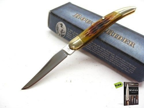 Free Mini Pick Set (ROUGH RIDER Amber Bone Mini TOOTHPICK Straight Pocket Folding Knife + Free eBook by SURVIVAL STEEL)