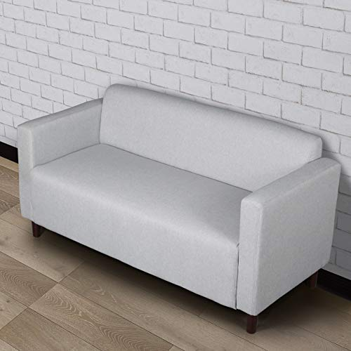 Modern Minimalist Short Back Loveseat Sofa Upholstered Couch Suitable for Living Room, Bedroom, Office Furniture, Total Length 55 inches Light Grey 1118
