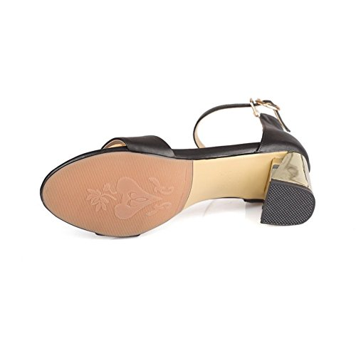 Adee Mujer electroplate talón hebilla piel sandalias Negro - negro