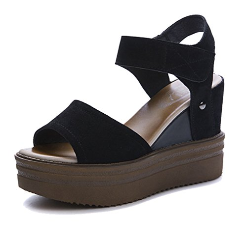Femaroly Summer Sandals for Ladies and Girls High Heeled Casual Waterproof Leather Shoes Black 8M