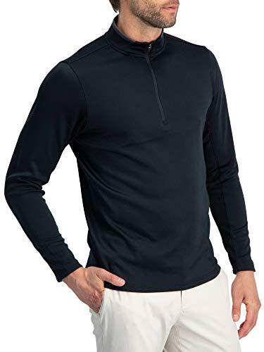 Golf Half Zip Pullover Men - Fleece Sweater Jacket - Mens Dry Fit Golf Shirts Jet Black
