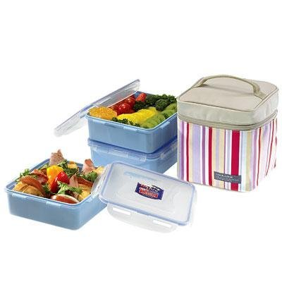 Lock & Lock Square Lunch Box 3-Piece Set with Insulated S...