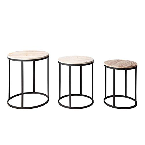 3 Piece Nesting Metal Frame End Tables - End Table with Wood Top - Black (Square Tables Nesting Iron)