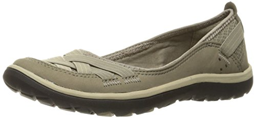 Clarks Womens Aria Pump Flat, Sage Synthetic, 7 W US