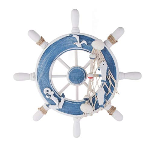 RAYLINE-DO RayLineDo Mediterranean Style Wooden Ship Wheel Nautical Boat Steering Rudder Wall Decor Door Hanging Ornament Home Restaurant Kindergarten Wall Hanging Decoration