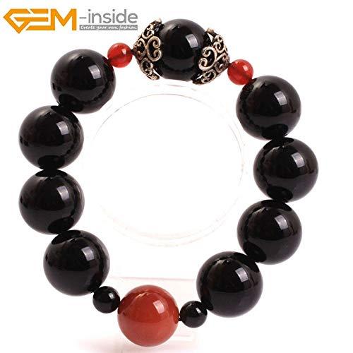 - Natural Muslim Catholic Christian Episcopal Prayer Rosary Black Agates Beads Bracelet | for Men Women (20mm)