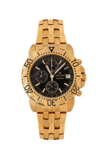 Oskar Emil Gents Caesium 1119G 23K Gold Chronograph Sports Watch with Black Dial