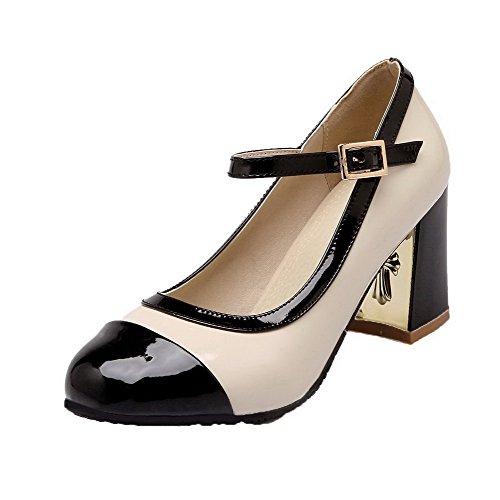 AllhqFashion Women's Kitten-Heels PU Assorted Color Buckle Pumps-Shoes, Black, 36 -
