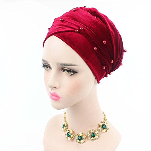 Beaded Cloche - Qhome Womens Luxury Beaded Pearled Velvet Long Head Wrap Turban Hijab Long Tube Head Scarf Tie