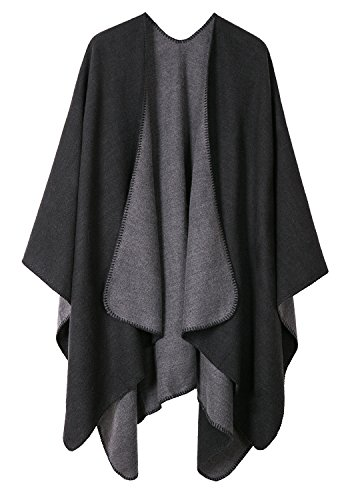 Urban CoCo Women's Color Block Shawl Wrap Open Front Poncho Cape (Series 7-Black)