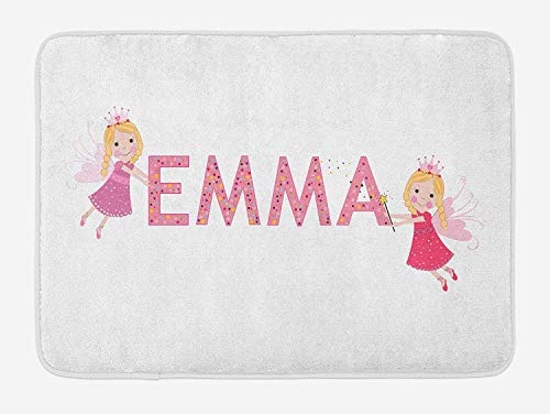 Weeosazg Emma Bath Mat, Cute Fairy Princesses Holding a Popular Widespread Girl Name with Polka Dots Pattern, Plush Bathroom Decor Mat with Non Slip Backing, 31.5 X 19.7 Inches, -