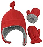 N'Ice Caps Boys Sherpa Lined Micro Fleece Pilot Hat and Mitten Set (2-3 Years, Red)