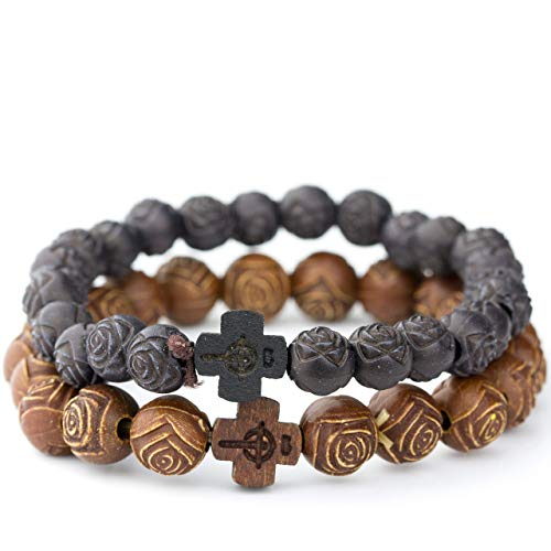 Soul Statement Bead Cross Bracelet 2-Pack Set of Beaded Bracelets for Women (Brown Black) ()