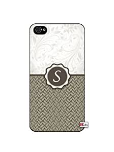 Monogram Initial Letter S iphone 5 5s Quality Hard Snap On Case for iphone 5 5s G T Sprint Verizon - White Case Cover