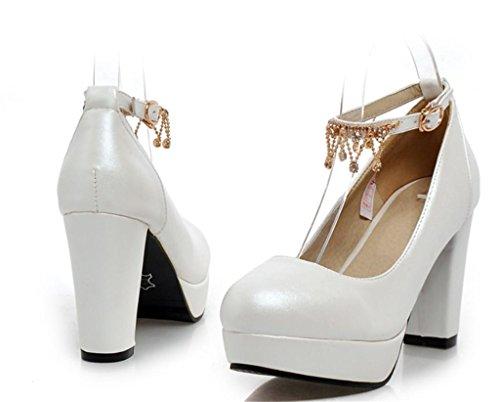 MNII Frauen Glänzende Metall-Riemen Geschlossene Spitze Zehe High Heels für Hochzeitsfest Kleid Stiletto Pumps- Gute Qualität White