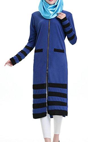 Cromoncent Femmes Manches Longues Muslim Bande Élégante Robe Amincissent Islamic Abaya Bleu Royal
