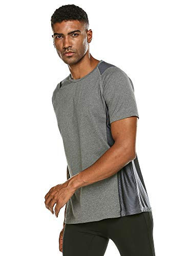 DAIKEN Men's Workout Tee Short Sleeve Cotton Gym T-Shirt Athletic Wicking Active Tee Shirt (Dark Gray,XL)
