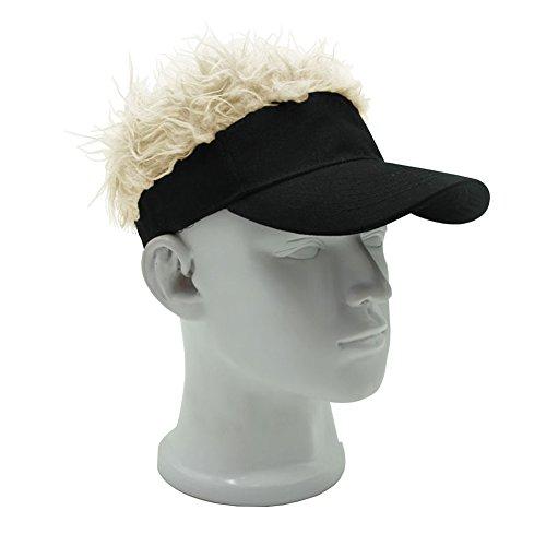 MerryJuly Adjustable Visor Cap with Fake Hair Wig Novelty Baseball Cap Sun Hat (Black Visor with Blond ()