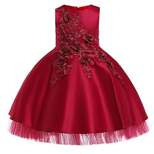 Baby Girls Infant Embroidery Dress Kids Gold Wedding Toddler High-End Dress Flower Tutu Formal Party Dress Girls,D0952-Winered,10]()