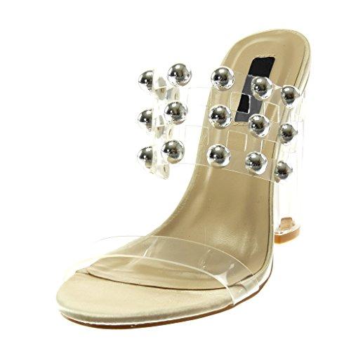 Bloc 11 on Beige Mode Chaussure Clouté Talon Slip Mule Sandale cm Angkorly Transparent Femme 5 Haut Perle 4g7AOx4pw