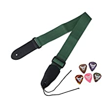 Aspire Guitar Strap Bass Strap with Leather Ends, 5 Pcs Guitar Picks, Ties for Acoustic Guitars-Green