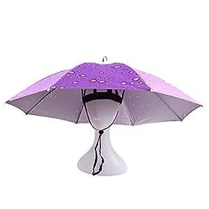 KASULAR Umbrella Hat Sun Rain Cap Elastic Headband, Adjustable Head Size, Hands Free, Party Dress Up for Outdoor Fishing Gardening Beach Golf Headwear (Purple)