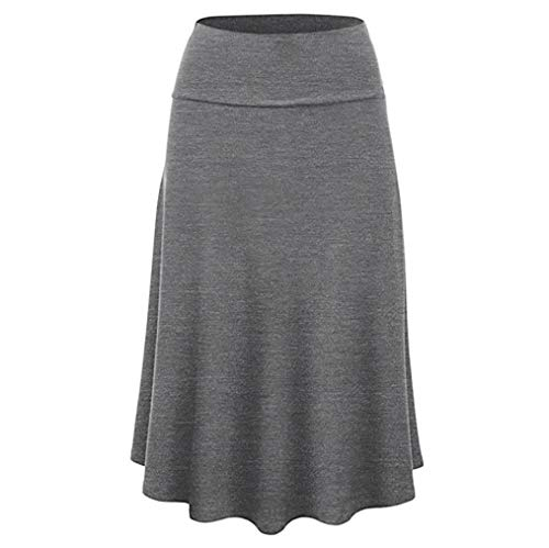 (Halloween Promotion! Clearance! Teresamoon Women Plus Size Solid Flare Hem High Waist Midi Skirt Uniform Pleated)
