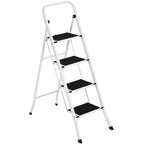 (Heavy Duty Steel Folding Compact 4 Steps Ladder with Rubber Gripped Treads Capacity 300 Lbs | Weather Resistant White Powder Coating | Lightweight Portable Reliable Multiple use | Anti Slip Wide Pedal)