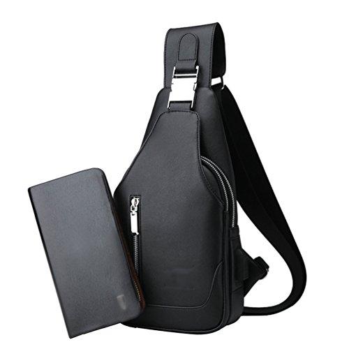 con de de 2Negro USB puerto 2PCS Billetera Pecho 7cm LINNUO Bandolera carga de Carteras 32 Hombre Bolso Sling 2PCS Hombro Bolso 16 Bolsa Bolsa Crossbody 2Caqui xzqA55Scwt