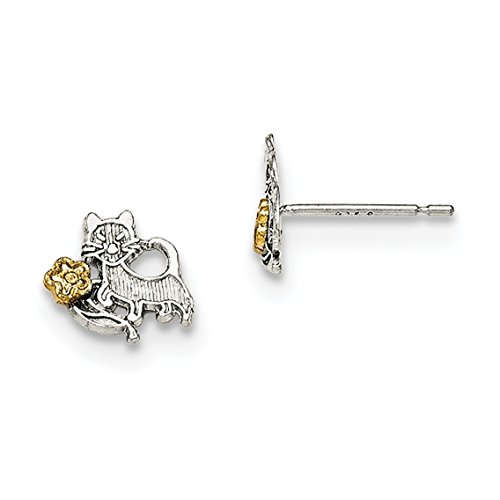Diamond2Deal 925 Sterling Silver and Vermeil Cat and Flowers Mini Earrings Solitaire Vermeil Earrings
