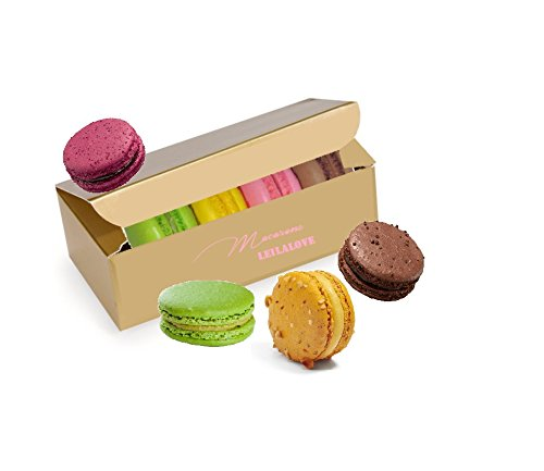 LeilaLove Macarons - 4 Macarons 4 flavors - Original Gold Box by LeilaLove,Inc