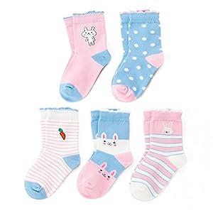 SUNBVE Toddler Little Girls' Bunny Nice Cotton Dress Socks 5 Pack