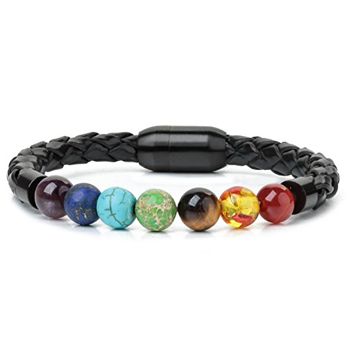 Ckysee 7 Chakra Lava Rock Bracelet Healing Balancing Genuine Leather Bracelets with Magnetic Clasp Tiger Eye Agate...