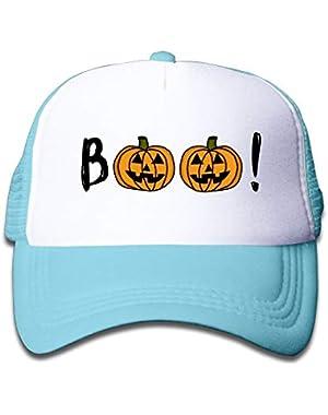 Halloween Pumpkin Boo1 On Kids Trucker Hat, Youth Toddler Mesh Hats Baseball Cap