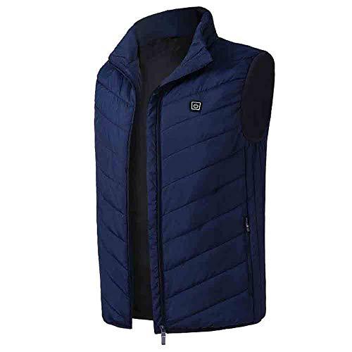 Oksale Men Winter Heated Coat Padded Cotton Vest Warm Hooded Thick Vest Tops Jacket