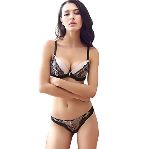 Women Lace Bra Set Sexy Lingerie Bra and Panties Push up (Black, 36B)
