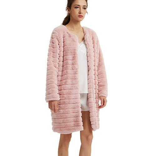 - New Dance Women's Long Faux Fur Coat Long Sleeve Luxury Pink Winter Parka Outwear,Pink,Medium