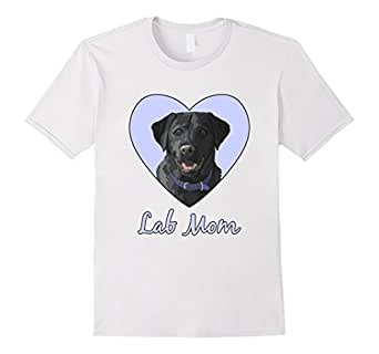 Men's Lab Mom Black Labrador Retriever Blue Heart 3XL White