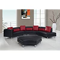 Global Furniture Ultra Bonded/Metal Legs Sectional Sofa, Black/Red Pillows