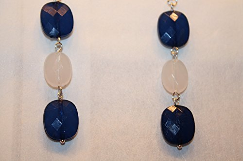 [Halloween Navy Girl Sailor Girl Nautical Dangle Earrings Handmade Navy Milky White Silver Elegant Sailing Earrings Martha's Vineyard Long Dangle] (Vineyard Halloween Costume)